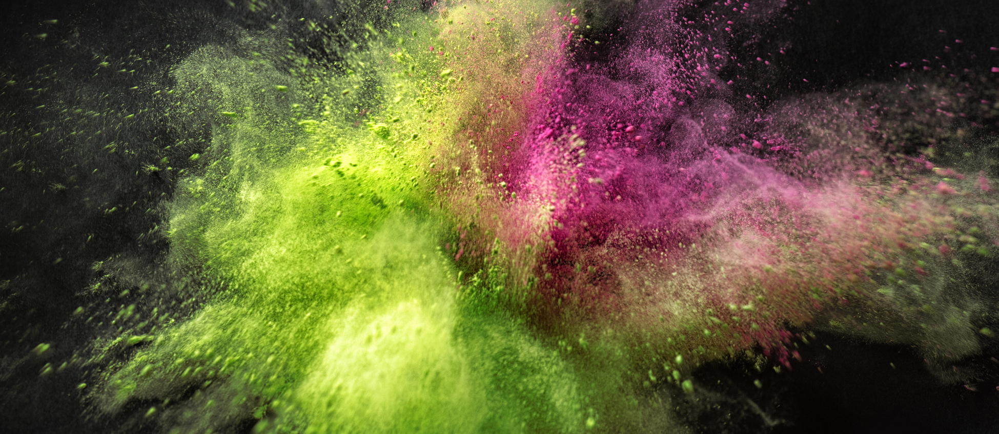 Cropped Coloured Powder Explosion Green Pink