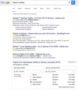 Google Flights rich snippets take over search engine result pages
