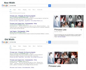 Google changes the width of search results screen clear comparison