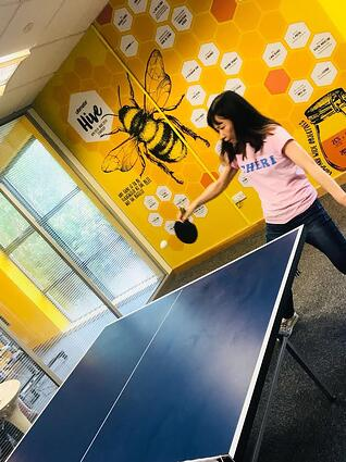 Jessica playing Ping Pong / Wimblepong